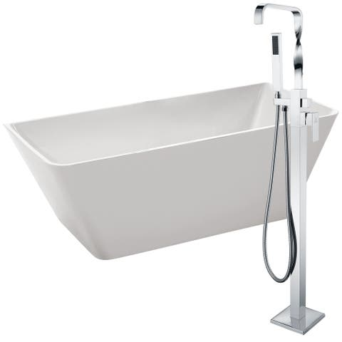 Zenith 67 in. Acrylic Soaking Bathtub in White with Yosemite Faucet in Polished Chrome