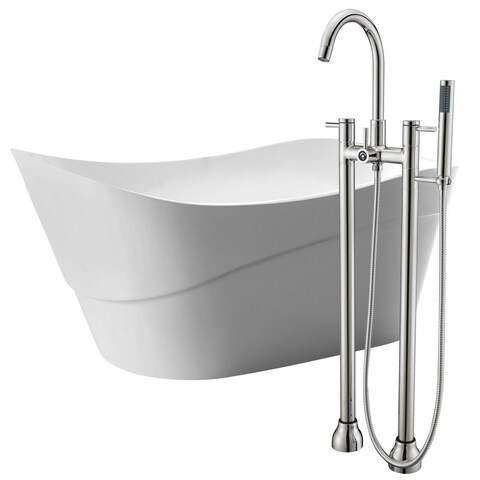 Kahl 67 in. Acrylic Soaking Bathtub in White with Sol Faucet in Brushed Nickel