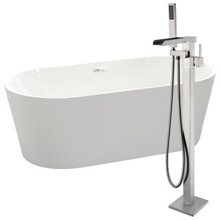 Chand 67 in. Acrylic Soaking Bathtub in White with Union Faucet in Brushed Nickel