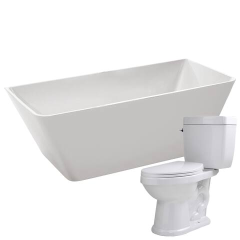 Zenith 67 in. Acrylic Soaking Bathtub in White with Talos 2-piece 1.6 GPF Single Flush Toilet