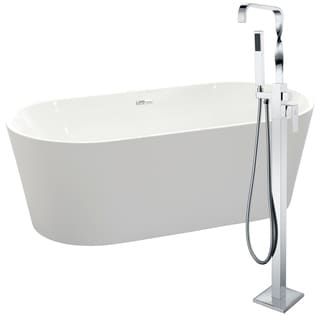 Chand 67 in. Acrylic Soaking Bathtub in White with Yosemite Faucet in Polished Chrome