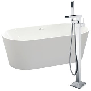 Chand 67 in. Acrylic Soaking Bathtub in White with Union Faucet in Polished Chrome