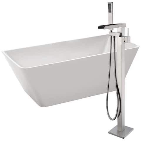 Zenith 67 in. Acrylic Soaking Bathtub in White with Union Faucet in Brushed Nickel