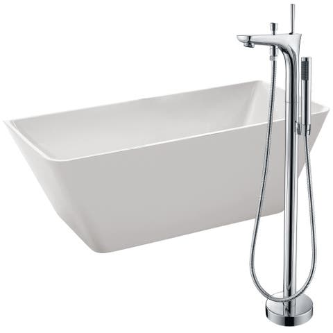 Zenith 67 in. Acrylic Soaking Bathtub in White with Kase Faucet in Polished Chrome