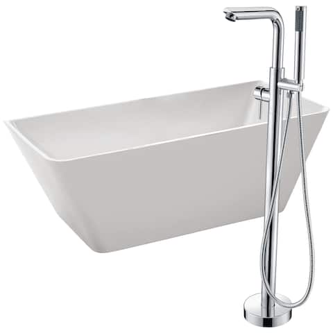 Zenith 67 in. Acrylic Soaking Bathtub in White with Sens Faucet in Brushed Nickel