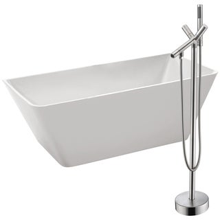 Zenith 67 in. Acrylic Soaking Bathtub in White with Havasu Faucet in Brushed Nickel