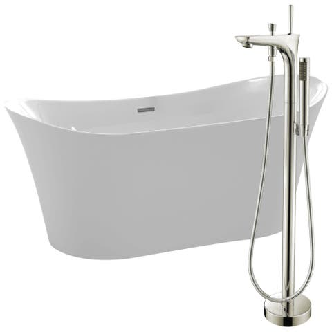 Eft 67 in. Acrylic Soaking Bathtub in White with Kase Faucet in Brushed Nickel
