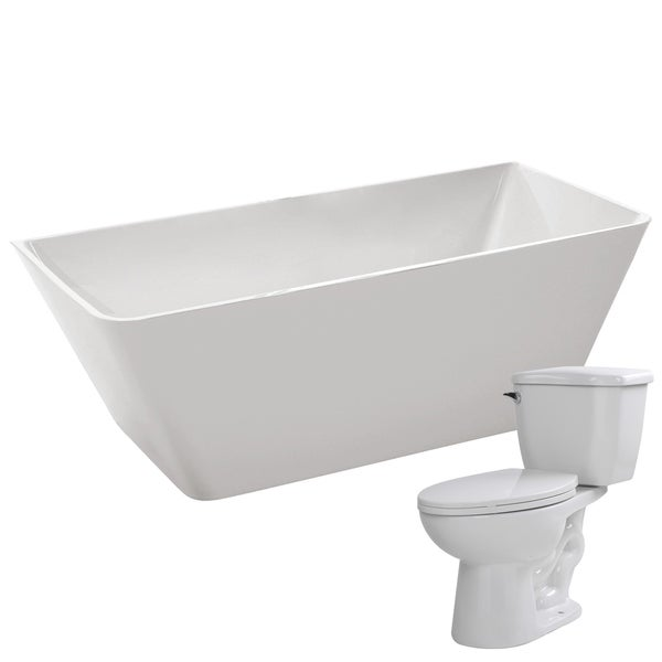 Zenith 67 in. Acrylic Soaking Bathtub in White with Kame 2-piece 1.28 GPF Single Flush Toilet