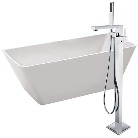 Zenith 67 in. Acrylic Soaking Bathtub in White with Khone Faucet in Polished Chrome