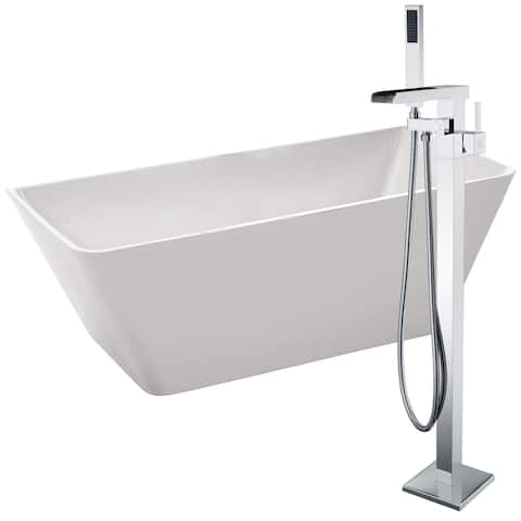 Zenith 67 in. Acrylic Soaking Bathtub in White with Union Faucet in Polished Chrome
