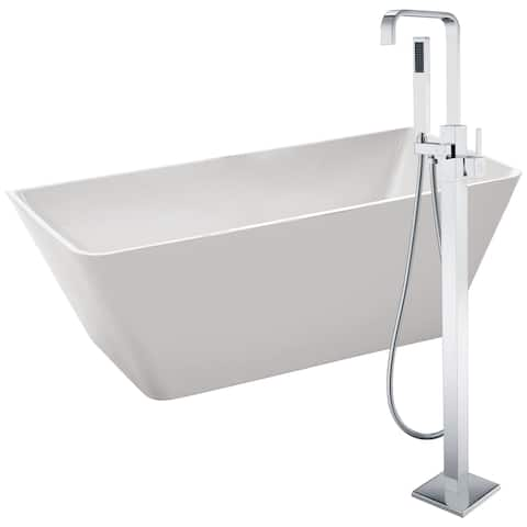 Zenith 67 in. Acrylic Soaking Bathtub in White with Victoria Faucet in Polished Chrome