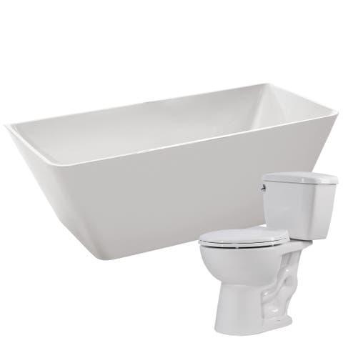 Zenith 67 in. Acrylic Bathtub in White with Author 1.28 GPF Toilet