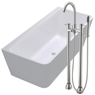 Strait 67 in. Acrylic Soaking Bathtub in White with Sol Faucet in Brushed Nickel