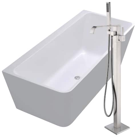 Strait 67 in. Acrylic Soaking Bathtub in White with Angel Faucet in Brushed Nickel