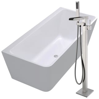 Strait 67 in. Acrylic Soaking Bathtub in White with Union Faucet in Brushed Nickel