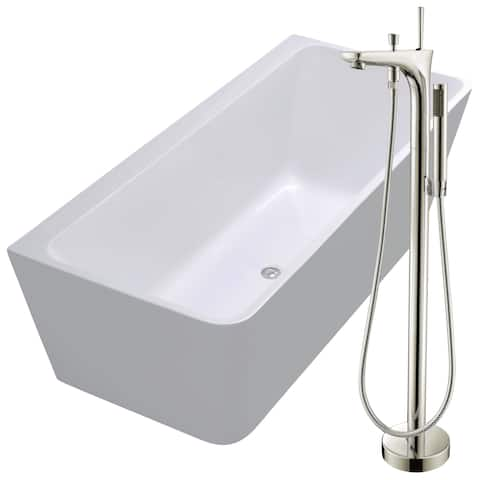 Strait 67 in. Acrylic Soaking Bathtub in White with Kase Faucet in Brushed Nickel