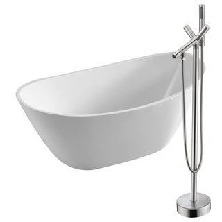 Cross 67 in. Acrylic Soaking Bathtub in White with Havasu Faucet in Brushed Nickel