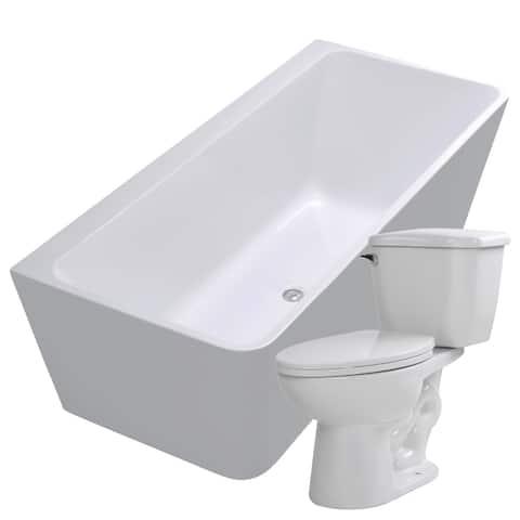 Strait 67 in. Acrylic Soaking Bathtub in White with Kame 2-piece 1.28 GPF Single Flush Toilet