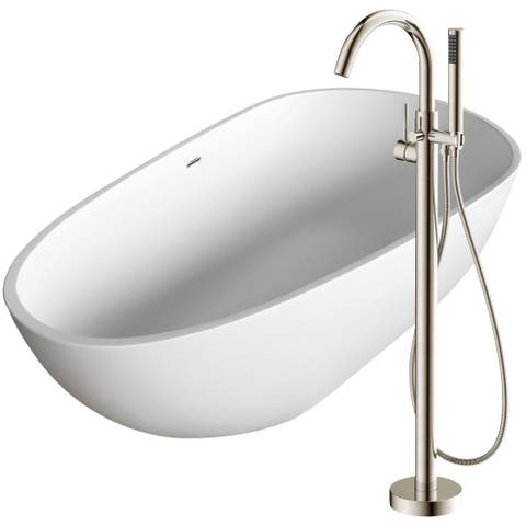 Fiume 67 in. Man-Made Stone Soaking Bathtub in White with Kros Faucet in Brushed Nickel