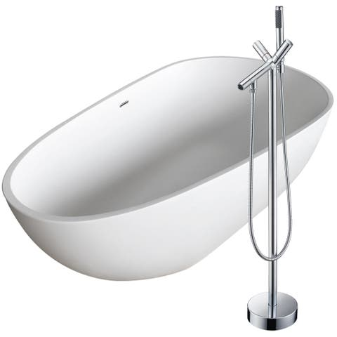 Fiume 67 in. Man-Made Stone Soaking Bathtub in White with Havasu Faucet in Polished Chrome
