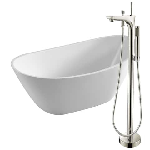 Cross 67 in. Acrylic Soaking Bathtub in White with Kase Faucet in Brushed Nickel