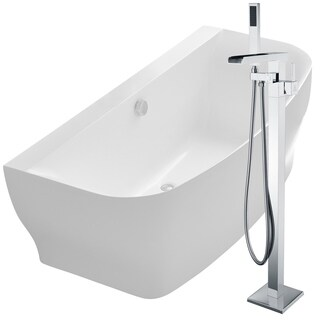 Bank 64.9 in. Acrylic Soaking Bathtub in White with Union Faucet in Polished Chrome