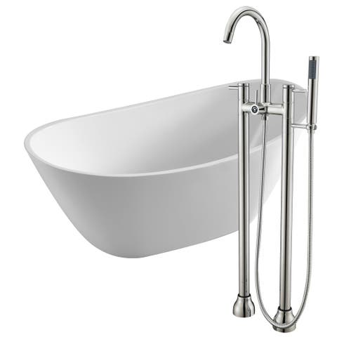 Cross 67 in. Acrylic Soaking Bathtub in White with Sol Faucet in Brushed Nickel