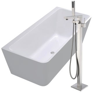 Strait 67 in. Acrylic Soaking Bathtub in White with Khone Faucet in Brushed Nickel