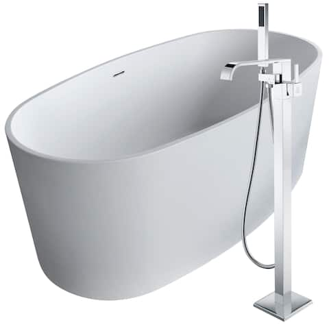Roccia 61.4 in. Man-Made Stone Soaking Bathtub in White with Angel Faucet in Polished Chrome