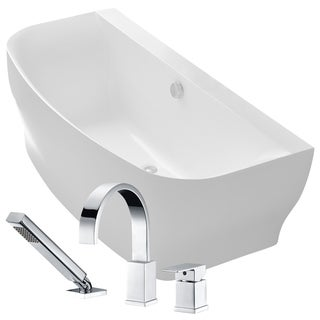 Bank 64.9 in. Acrylic Soaking Bathtub in White with Nite Faucet in Polished Chrome