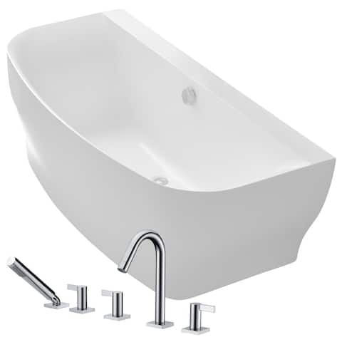 Bank 64.9 in. Acrylic Soaking Bathtub in White with Snow Faucet in Polished Chrome