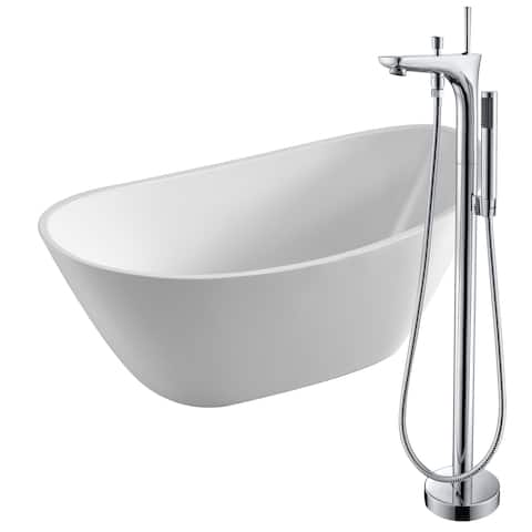 Cross 67 in. Acrylic Soaking Bathtub in White with Kase Faucet in Polished Chrome
