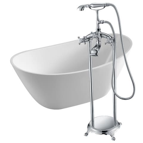 Cross 67 in. Acrylic Soaking Bathtub in White with Tugela Faucet in Polished Chrome