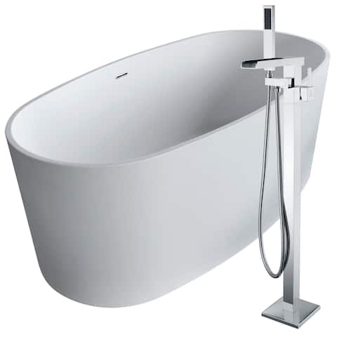 Roccia 61.4 in. Man-Made Stone Soaking Bathtub in White with Union Faucet in Polished Chrome
