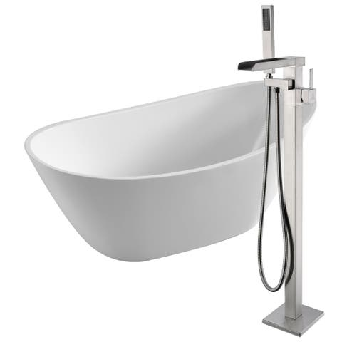 Cross 67 in. Acrylic Soaking Bathtub in White with Union Faucet in Brushed Nickel