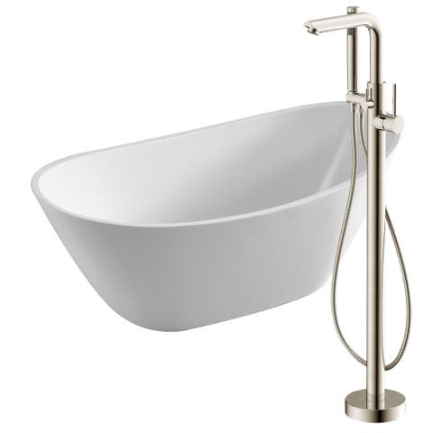 Cross 67 in. Acrylic Soaking Bathtub in White with Sens Faucet in Brushed Nickel
