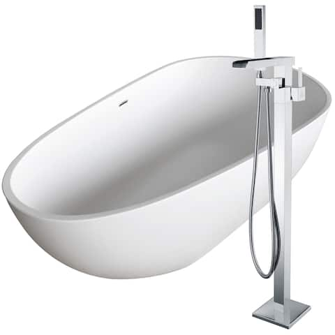 Fiume 67 in. Man-Made Stone Soaking Bathtub in White with Union Faucet in Polished Chrome