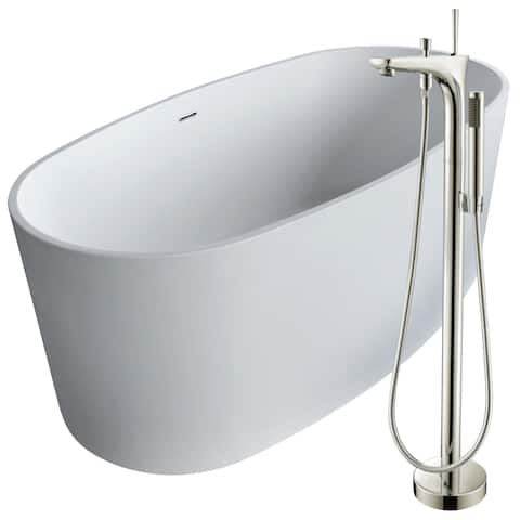 Roccia 61.4 in. Man-Made Stone Soaking Bathtub in White with Kase Faucet in Brushed Nickel