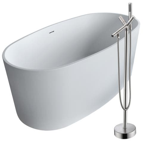 Roccia 61.4 in. Man-Made Stone Soaking Bathtub in White with Havasu Faucet in Brushed Nickel