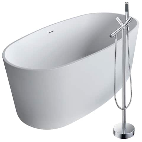 Roccia 61.4 in. Man-Made Stone Soaking Bathtub in White with Havasu Faucet in Polished Chrome