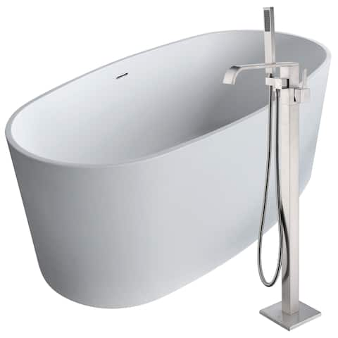 Roccia 61.4 in. Man-Made Stone Soaking Bathtub in White with Angel Faucet in Brushed Nickel