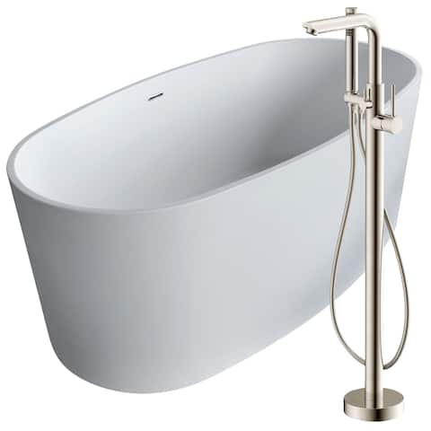 Roccia 61.4 in. Man-Made Stone Soaking Bathtub in White with Sens Faucet in Brushed Nickel