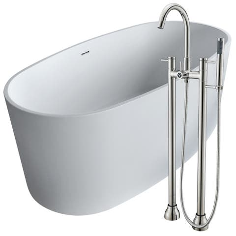 Roccia 61.4 in. Man-Made Stone Soaking Bathtub in White with Sol Faucet in Brushed Nickel