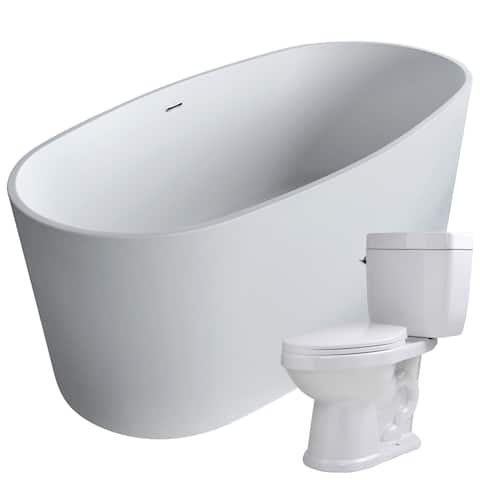 Roccia 61.4 in. Man-Made Stone Soaking Bathtub in White with Talos 2-piece 1.6 GPF Single Flush Toilet