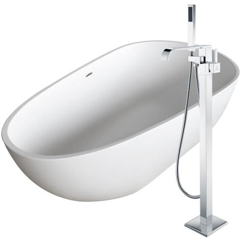 Fiume 67 in. Man-Made Stone Soaking Bathtub in White with Angel Faucet in Polished Chrome