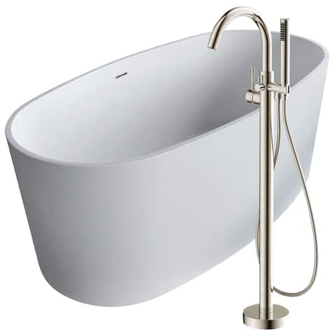 Roccia 61.4 in. Man-Made Stone Soaking Bathtub in White with Kros Faucet in Brushed Nickel