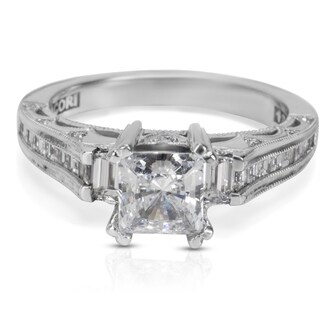Tacori Engagement Ring Setting in 18KT White Gold HT 2509 PR SM 1/2 W