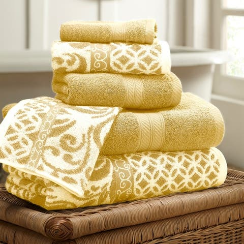 Amrapur Overseas Trefoil Filigree 6 Piece Yarn Dyed Jacquard Towel Set