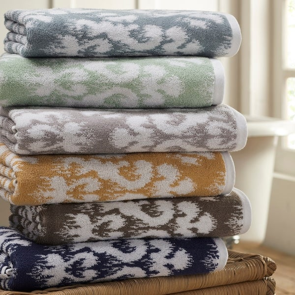 Amrapur Overseas Ikat Damask 6 Piece Yarn Dyed Jacquard Towel Set