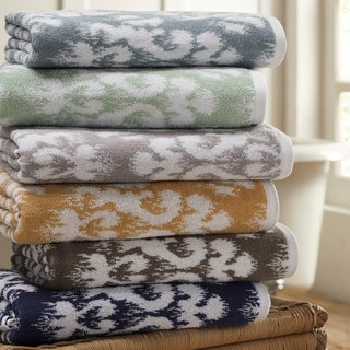 Amrapur Overseas Ikat Damask 6 Piece Yarn Dyed Jacquard Towel Set